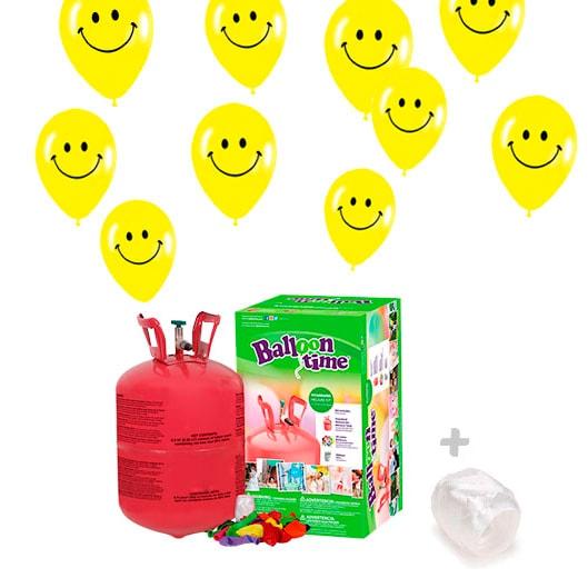 Bombona Helio pequeño con Globos 30 globos Smiley