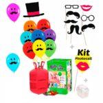 Botella de Helio con 20 globos Cara Bigotes y Kit Photocall