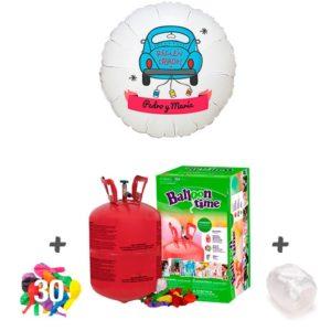 Pack Globos Boda: Helio Bombona pequeña + 1 Globo Personalizado A Todo Color + 30 Globos latex surtidos