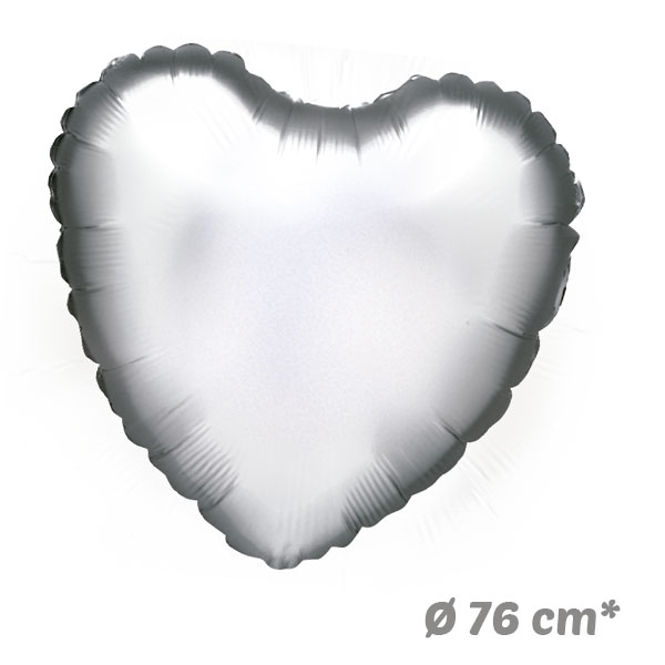 Globos Corazon Plata de Helio 76 cm