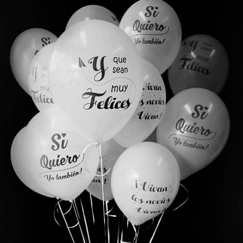 40 Globos Boda Blancos 3 Diseños + Helio Grande