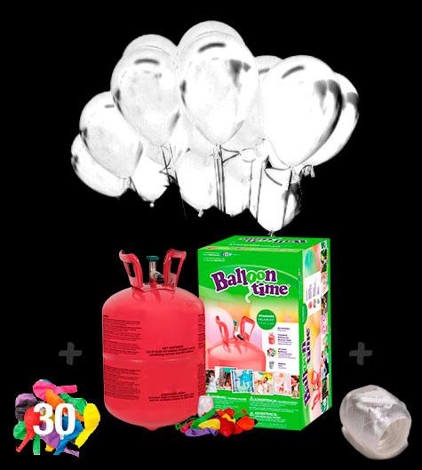 Pack globos Led Blancos 20 y Helio pequeño