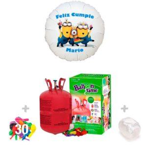 Pack Globos Cumpleaños: Helio Bombona pequeña + 1 Globo Personalizado A Todo Color + 30 Globos