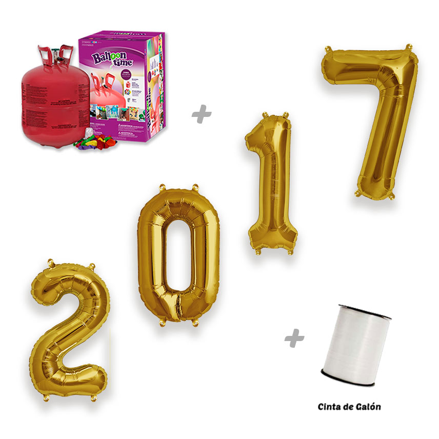 Pack Globos Feliz 2017 4 Números 86 cm