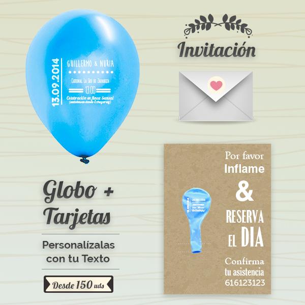 Invitaciones Boda Globos y Tarjeta Personalizados + Sobre | 25 cm Metalizados | Diseño 3