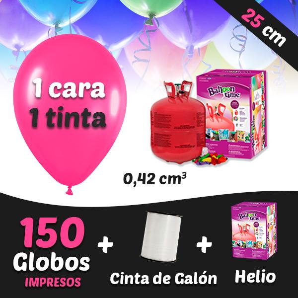150 Globos Personalizados 1 tinta 1 cara + Cinta + 3 Helio 0,42 cm3