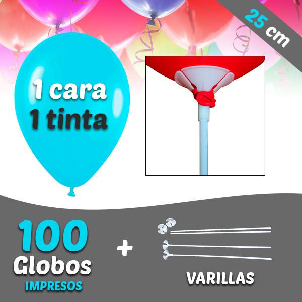 100 Globos Personalizados 1 tinta 1 cara + Varillas