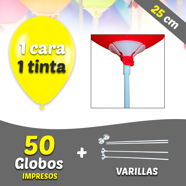 50 Globos Personalizados 1 tinta 1 cara + Varillas