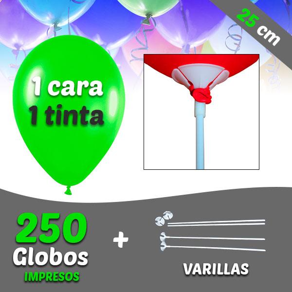250 Globos Personalizados 1 tinta 1 cara + Varillas