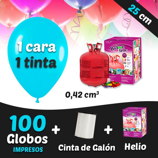 100 Globos Personalizados 1 tinta 1 cara + Cinta + Helio 0,42 cm3