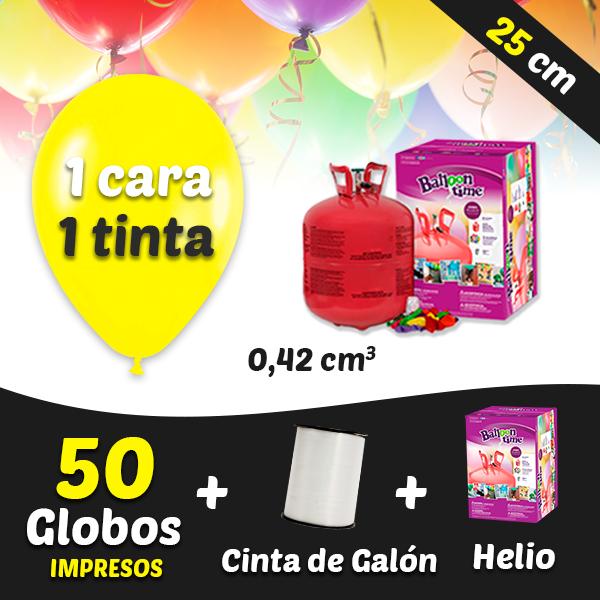 50 Globos Personalizados 1 tinta 1 cara + Cinta + Helio 0,42 cm3
