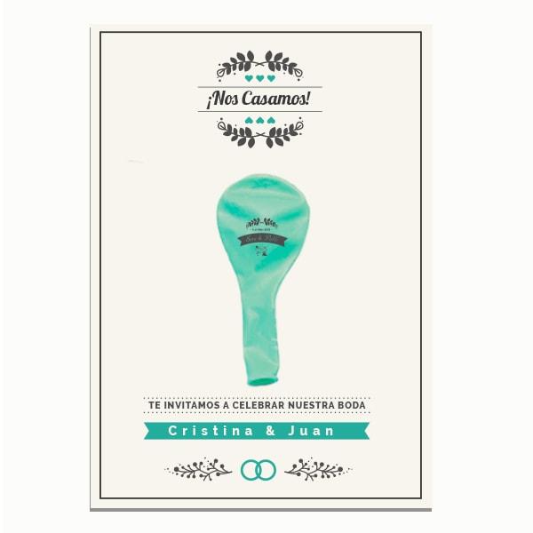 Invitaciones Boda Globos y Tarjeta Personalizados + Sobre | 25 cm Metalizados | Diseño 1