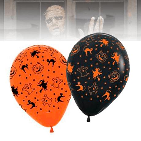 10 Globos Halloween Naranjas y Negros