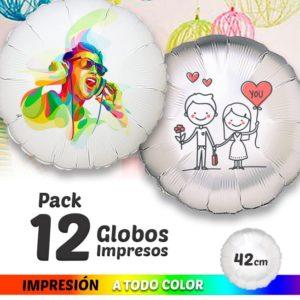 12 Globos de Helio Redondos Personalizados A Todo Color 42cm 1 cara