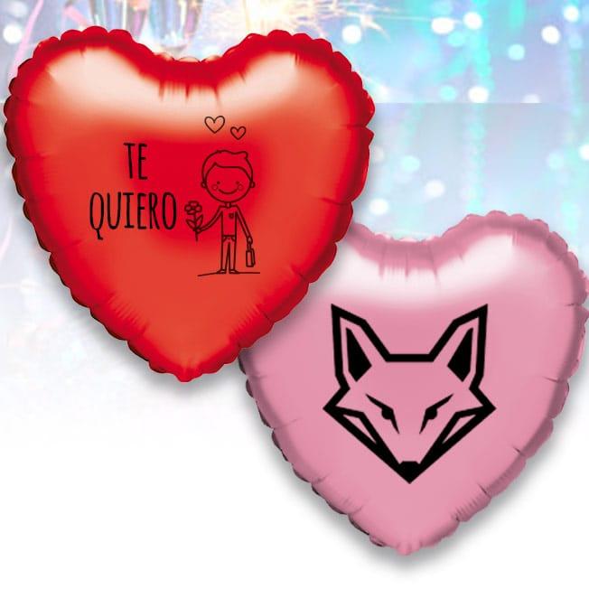 12 Globos de Helio Corazón Personalizados 1 tinta 1 cara Pack