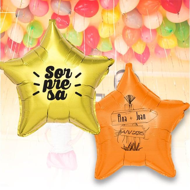 12 Globos de Helio Estrella Personalizados 1 tinta 1 cara Pack