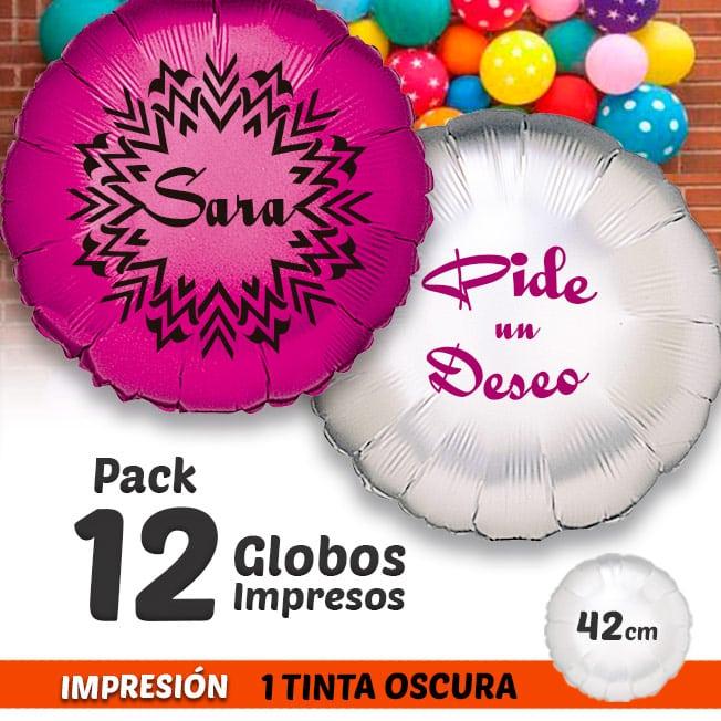 12 Globos de Helio Redondos Personalizados A Todo Color 1 tinta 1 cara Pack