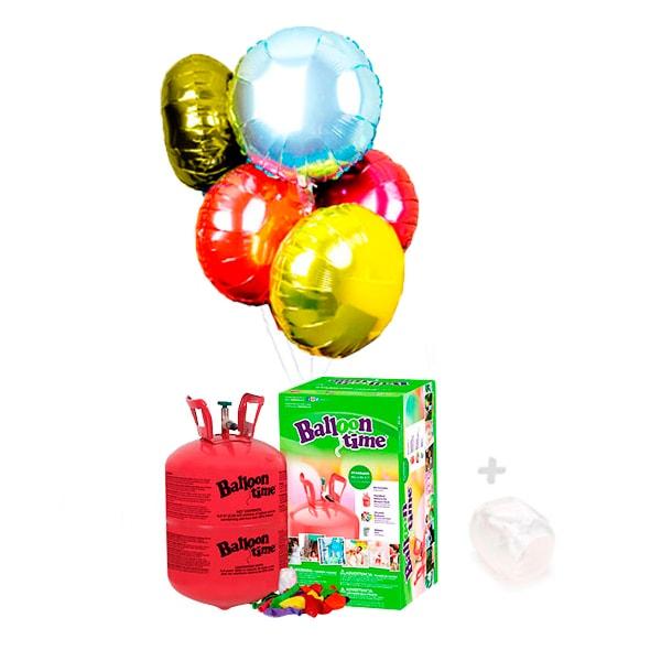 Globos de Helio: Botella Pequeña con 12 Globos de Poliamida Redondo