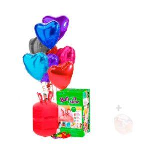 Globos de Helio: Botella Pequeña con 12 Globos de Poliamida Corazón